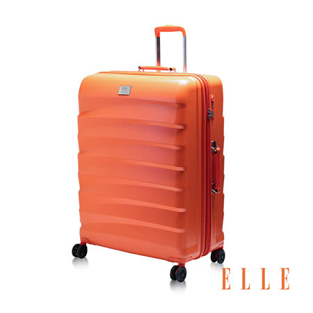 ELLE 法式時尚流線橫條紋 純PC100% 霧面防刮29吋行李箱-珊瑚橘EL3116729-11