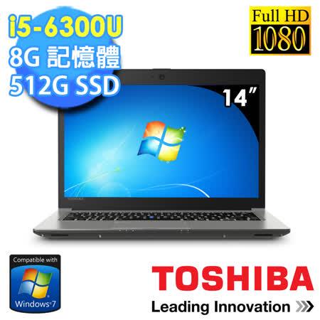 TOSHIBA Z40-C-00K009 14吋 i5-6300U 512GSSD 8G記憶體 2G獨顯 win7專業版 1.47kg商務筆電(低調金)★贈原廠筆電包+原廠滑鼠