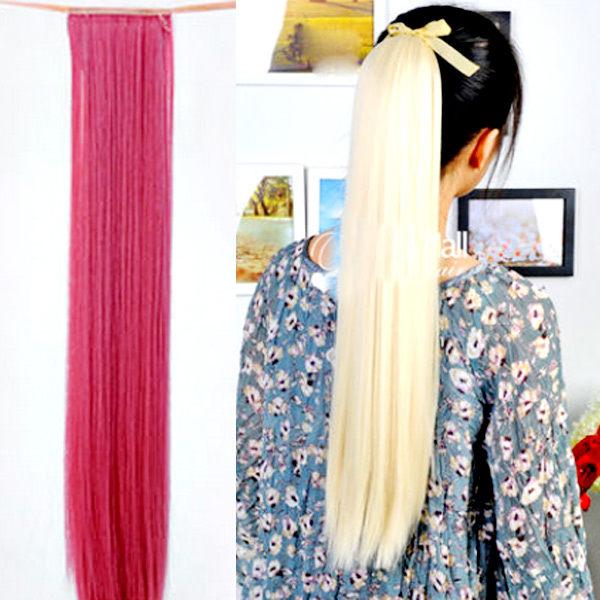 【PS Mall】輕鬆簡易上手 綁式緞帶彩色直馬尾假髮 (P055)