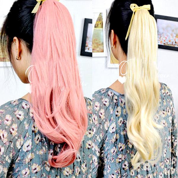 【PS Mall】輕鬆簡易上手 綁式緞帶彩色捲馬尾假髮