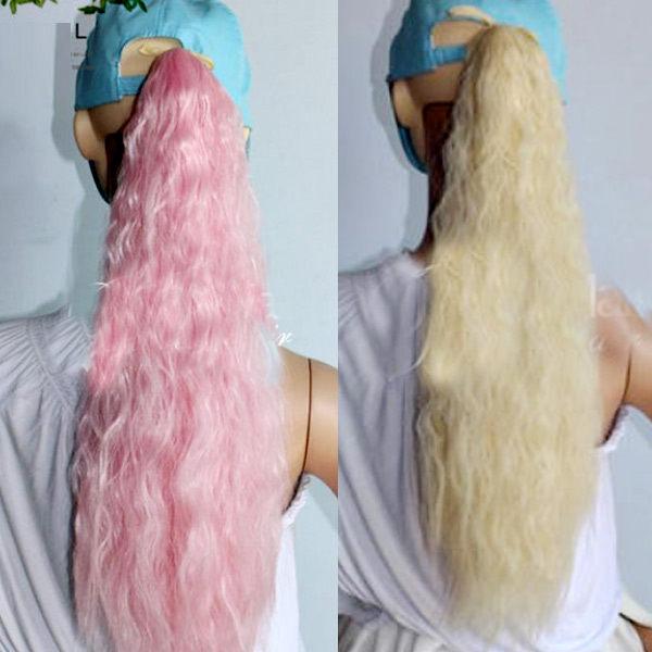 ~PS Mall~輕鬆簡易上手 綁式緞帶彩色玉米燙馬尾假髮 ^(P057^)
