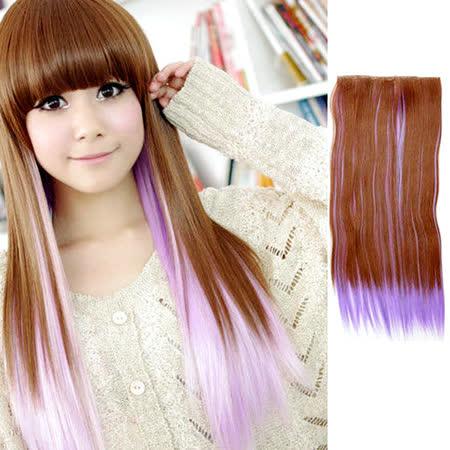 【PS Mall】輕鬆簡易上手 五扣挑染漸變直髮片 一片式假髮片 紫色 (P064)