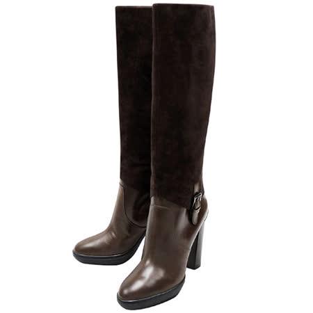 TODS 麂皮厚底時尚高跟長靴-巧克力色【40.5號】