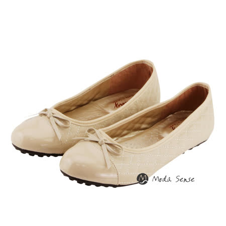 Moda Sense  簡單格子風娃娃鞋-米 M6S8-A126