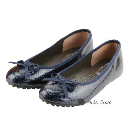 Moda Sense 蛇皮紋路娃娃鞋-藍 M6S8-A308