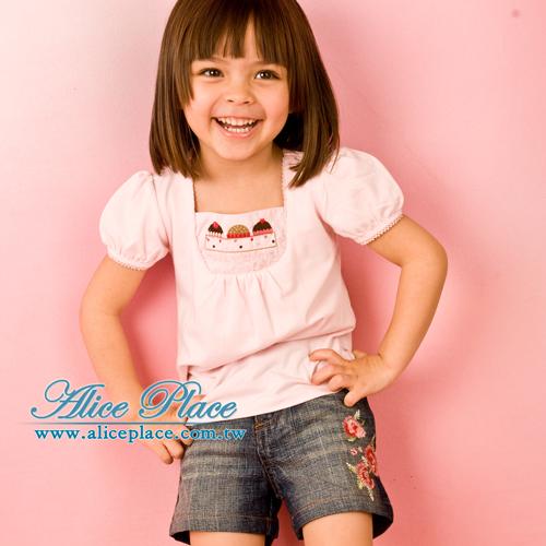 ^~Alice Place^~復古玫瑰牛仔短褲_A26