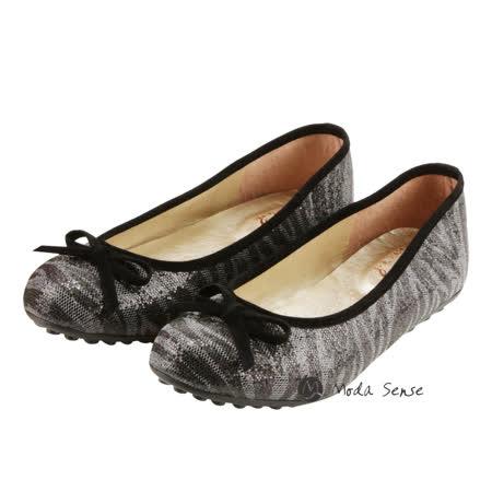 Moda Sense 閃閃亮金蔥系列娃娃鞋-金黑 M6S8-6091