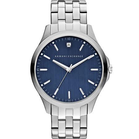 A│X Armani Exchange 雅痞都會時尚腕錶-藍x銀/46mm AX2166