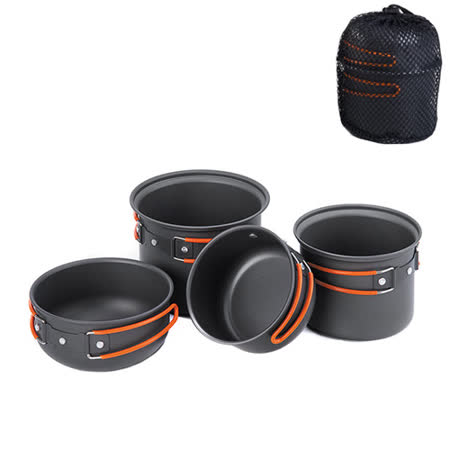 PUSH! 戶外休閒用品露營登山野餐炊具組合套鍋餐具鍋具 2-3人用P87