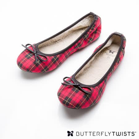 BUTTERFLY TWISTS - PENELOPE可折疊扭轉芭蕾舞鞋-紅綠格紋