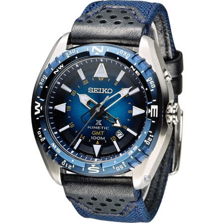 SEIKO PROSPEX GMT 兩地時間人動電能腕錶 5M85-0AE0B SUN059P1 藍