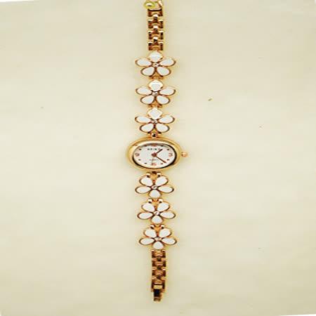 花戀飾品淑女鍊錶-白花鑲鑽錶