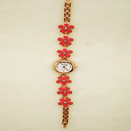 花戀飾品淑女鍊錶-桃花鑲鑽錶