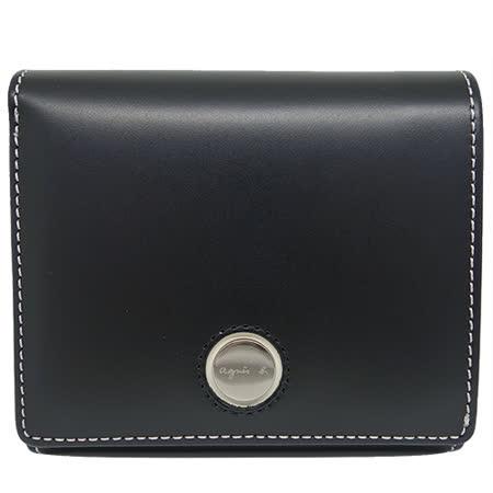 agnes b. 金屬圓釦皮革短夾(黑色)