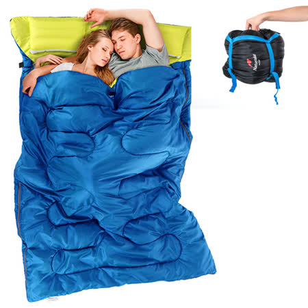 PUSH! 登山戶外用品 加寬加厚保暖雙人帶枕頭四季睡袋P85藍色