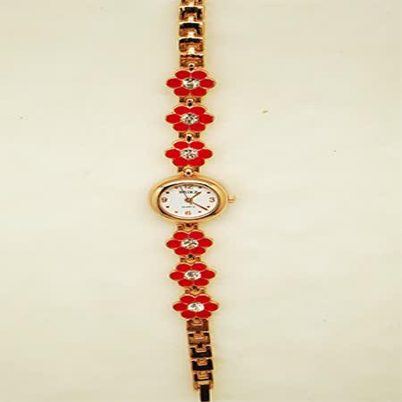 花戀飾品淑女鍊錶-紅花鑲鑽錶