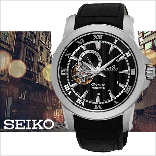 SEIKO Premier 羅馬世紀24小時顯示開芯機械錶~黑41mm4R39~00L0P