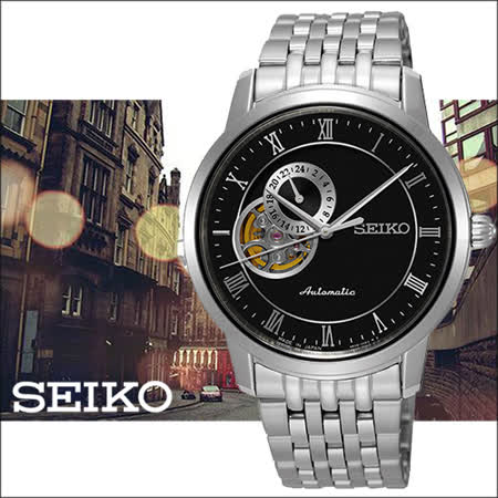 SEIKO Presage 羅馬帝國24小時顯示開芯機械錶-黑/39mm/4R39-00M0D(SSA271J1)