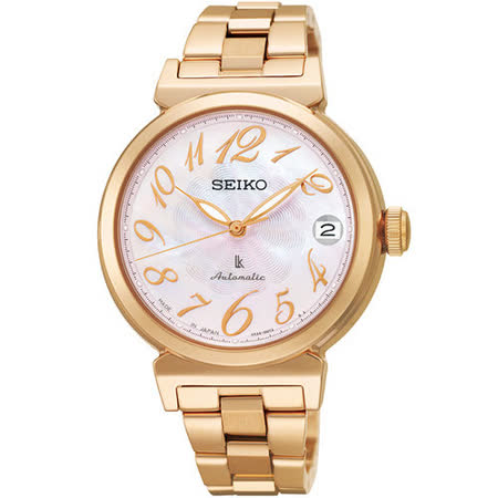 SEIKO LUKIA 優美姿態 時尚機械腕錶(粉貝-33mm) 4R35-00J0P