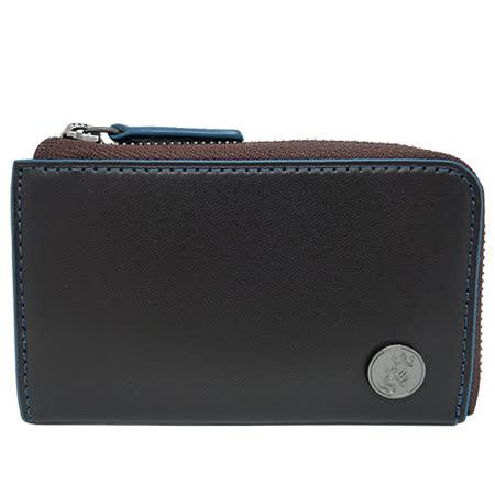 agnes b.  蜥蜴圓釦皮革鑰匙零錢包(藍黑色)