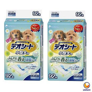 Unicharm消臭大師 日本 小型犬狗尿墊-森林香 M92 X 2包