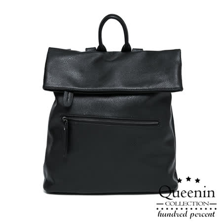 DF Queenin日韓 - 韓版輕軟羊皮質感斜背後背2用包-黑色