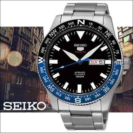 SEIKO 精工5號盾牌水鬼系列男用腕錶-黑/43mm/4R36-04B0D(SRP659J1)