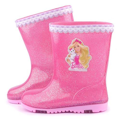 童鞋城堡~Barbie芭比 中大童 甜美雙色底雨鞋BR7803~桃