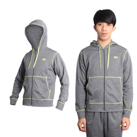 (男) MJ3 厚刷毛連帽外套-慢跑 路跑 灰螢光黃