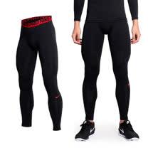(男) NIKE PRO COMBAT 彈力緊身長褲-緊身褲 慢跑 路跑 重訓 黑紅