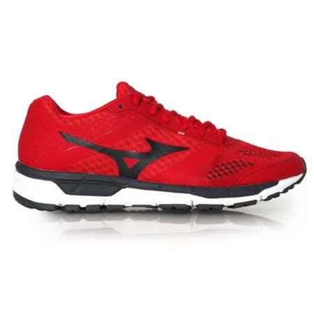 (男) MIZUNO SYNCHRO MX 慢跑鞋- 路跑 美津濃 健身 訓練 紅黑