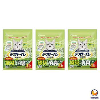 Unicharm 日本消臭大師 一月間消臭抗菌綠茶紙砂 2L X 3包入