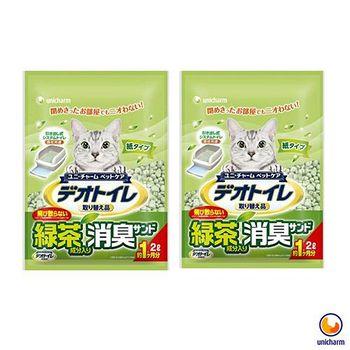 Unicharm 日本消臭大師 一月間消臭抗菌綠茶紙砂 2L X 2包入