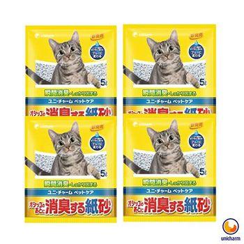 Unicharm 日本消臭大師 消臭紙砂 無香味 5L X 4包入