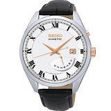 SEIKO Kinetic 時尚人動電能復古羅馬風尚皮革腕錶-米白/42mm/ 5M84-0AE0S(SRN073P1)