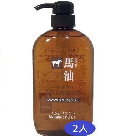 日本KUM熊野油脂馬油無矽靈洗髮精600ml*2入