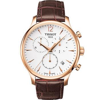 TISSOT T-TRADITION 尊爵超薄三眼計時男錶(白面/金框) T0636173603700