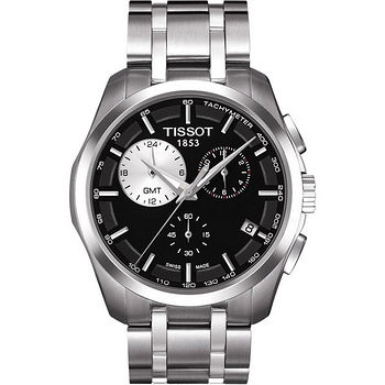 TISSOT Couturier GMT建構師系列三眼計時腕錶(黑) T0354391105100