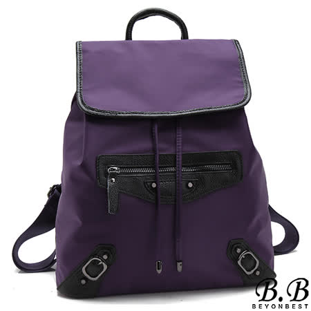 【MOROM】真皮經典時尚改版機車後背包(紫色)new242