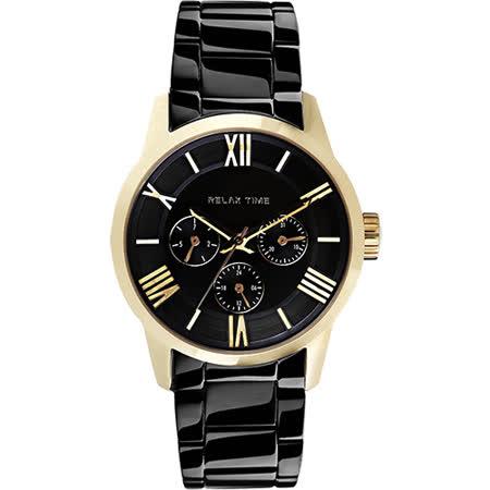 RELAX TIME RT65 羅馬情人日曆腕錶-金框x黑/45mm RT-65-3M