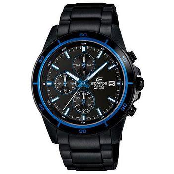 CASIO CASIO EDIFICE.經典簡潔精準三眼賽車腕錶(黑色離子IP)EFR-526BK-1A2 黑藍色