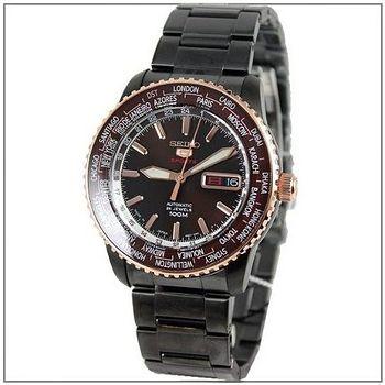 SEIKO 130紀念限量IP黑不鏽鋼機械錶 -咖啡色面(SRP132J1)