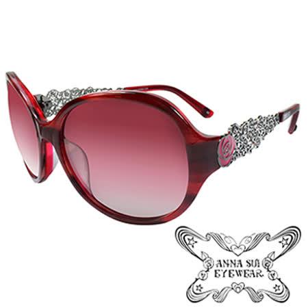 Anna Sui 玫瑰特殊金屬鏤空造型款太陽眼鏡(紅)AS854-205