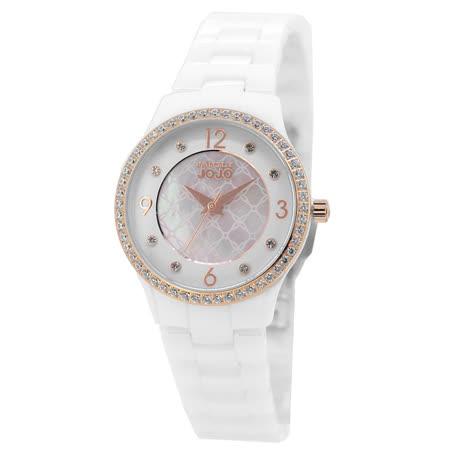 NATURALLY JOJO 秘密花園水鑽陶瓷腕錶-淡金