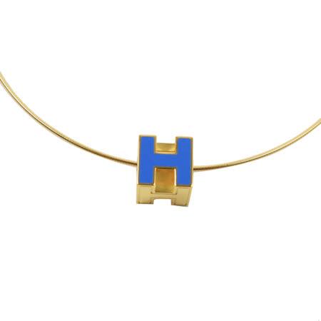 HERMES 時尚配件經典H LOGO銀飾項鍊.金/藍