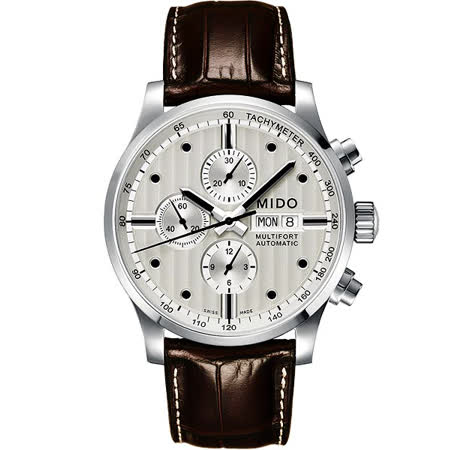 MIDO Multifort Chrono Valijoux計時碼錶-銀白/44mm M0056141603100