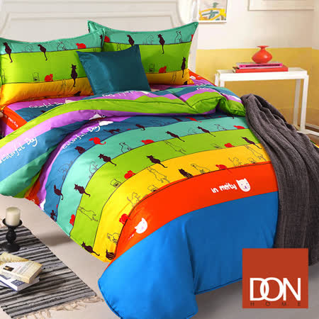 《DON 喵喵物語》雙人四件式蜜絲絨全鋪棉兩用被床包組