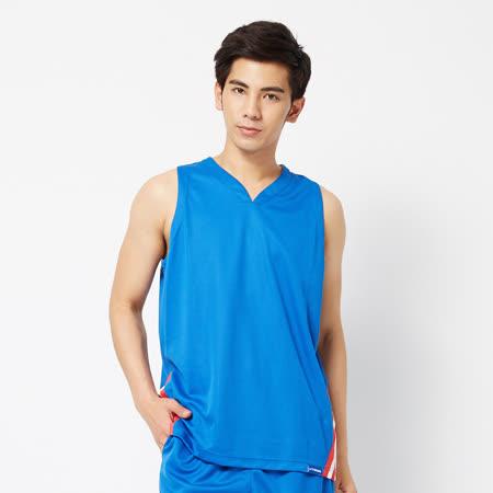 V.TEAM(男)-吸排V領籃球背心-藍