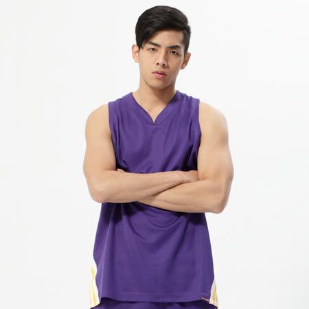 V.TEAM(男)-吸排V領籃球背心-紫