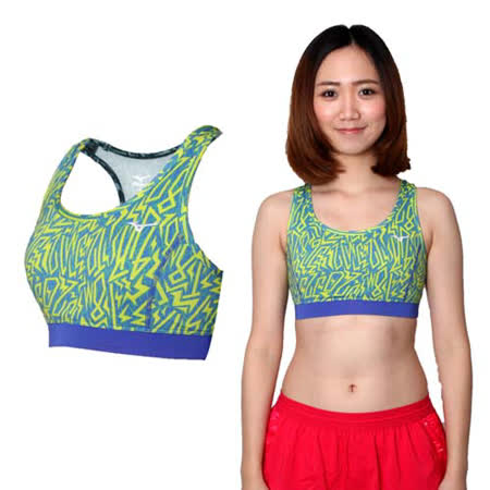 (女) MIZUNO 運動內衣- 運動背心 BRA 美津濃 路跑 慢跑 瑜珈 芥末黃藍